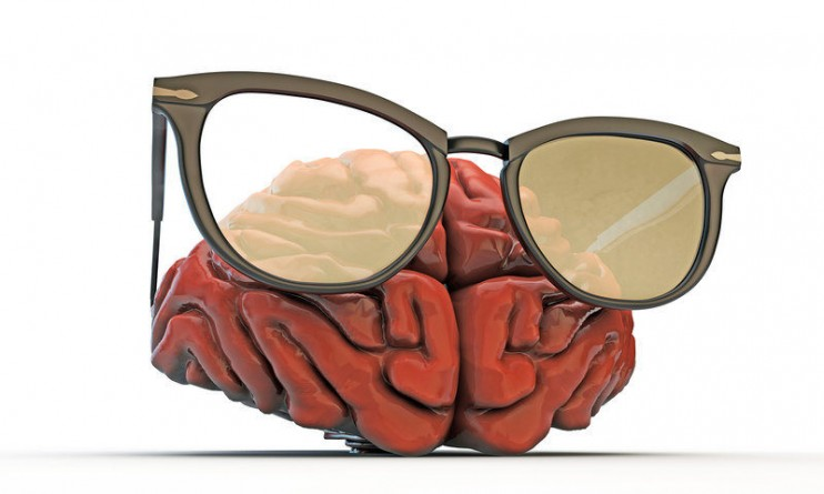 big brain with black glasses