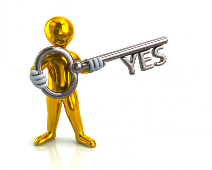 Illustration of golden man and silver key with yes