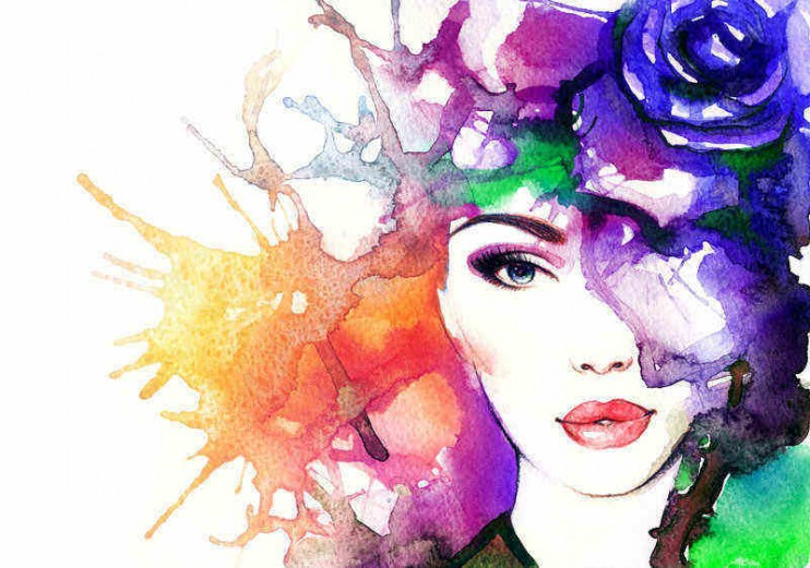 woman face.abstract watercolor .fashion background