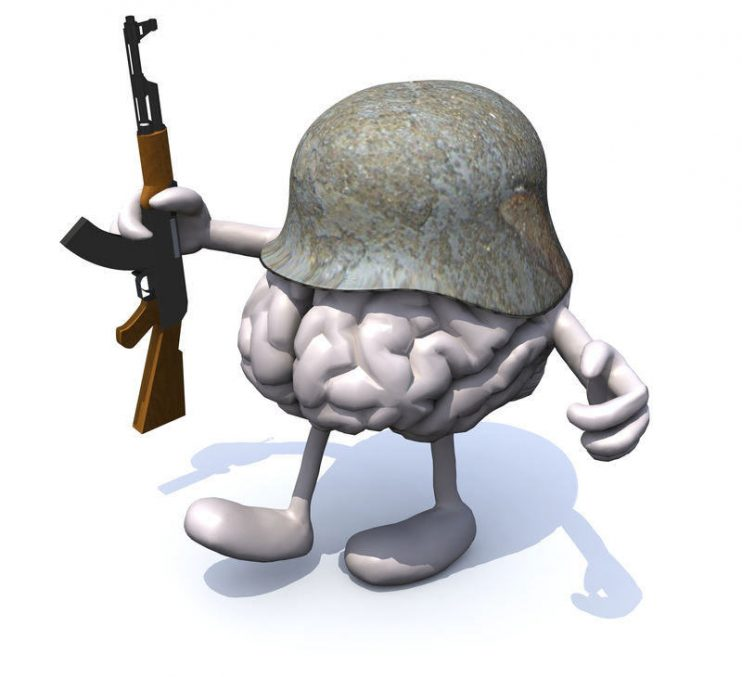 human brain with arms and legs, german helmet and rifle, 3d illustration